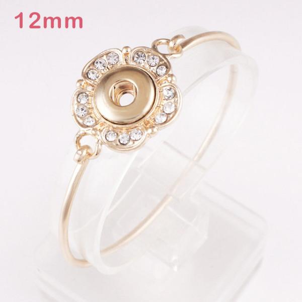 1 botón con broches de presión pulsera de oro de aleación que se ajusta a trozos de broches de 12 mm