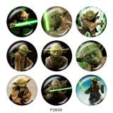 20MM Master Yoda Print Glasschnappknöpfe