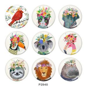 Стеклянные кнопки с принтом животных 20 мм