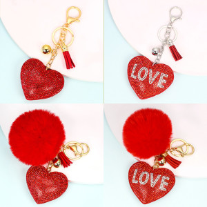 Love hair ball key chain pendant women's bag accessories pendant Valentine's Day