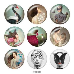 Стеклянные кнопки с художественным принтом 20 мм