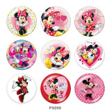 20MM Mickey Print glass snaps buttons