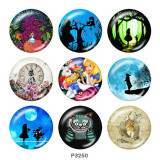 20MM Alice in Wonderland Print glass snaps buttons