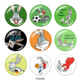 20MM Bugs Bunny Print glass snaps buttons