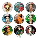 Botones a presión de vidrio con estampado de artista Frida kahlo de 20 mm