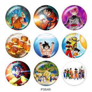 Стеклянные кнопки с принтом Dragon Ball 20 мм
