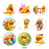 20MM Winnie the Pooh Print glass snaps buttons