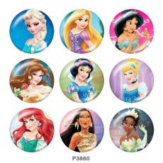 Botones a presión de cristal con estampado de princesa de 20 mm