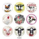 20MM farm Print glass snaps buttons
