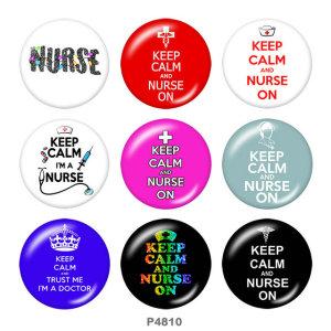 20MM Krankenschwester Drucken Sie die Druckknöpfe aus Glas