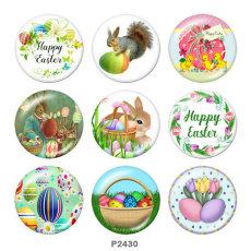 Botones a presión de vidrio con estampado de Pascua de 20 mm