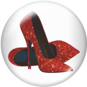 Туфли на высоком каблуке 20 мм. Стеклянные кнопки с принтом.