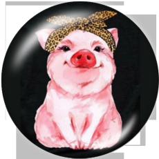 Botones a presión de vidrio con estampado de cerdo de 20 mm