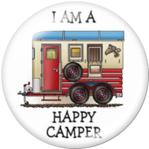 20MM happy camper Print glass snaps buttons