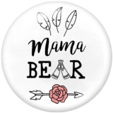 20MM MOM MAMA Print glass snaps buttons