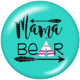 20MM MAMA BEAR Mother's Day Print glass snaps buttons
