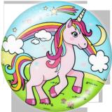 Botones a presión de vidrio con estampado de unicornio de 20 mm