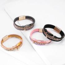 Personalisiertes Mode-Armband mit mehrschichtigem Kristallarmband aus magnetischer Schnalle aus Leder