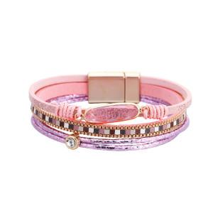 Персонализированный модный браслет с кристальной многослойной кожаной пряжкой с магнитной пряжкой