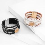 Ethnisches Armband Mehrschichtiges Leder gewebtes Lafite-Magnetverschluss-Armband