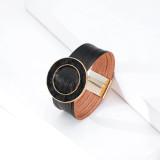 Pulsera de cuero con hebilla magnética de múltiples capas con hebilla de anillo de pelo de caballo multicolor