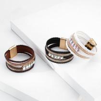 Mode Armband Mädchen Böhmische Handdekoration Urlaub Stil mehrschichtigen Leder Kristall Armband