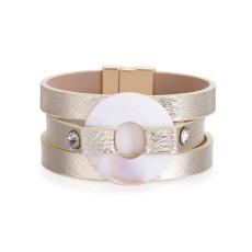 Damenarmband Böhmisches mehrschichtiges vergoldetes Leder mit Diamantplatte und rundem CLASP-ARMBAND