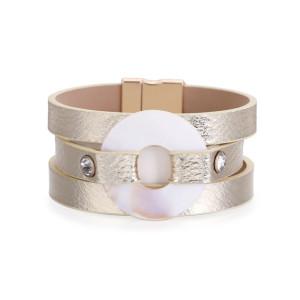 Женский браслет Богемская многослойная позолоченная кожа с инкрустацией бриллиантовой пластиной Round CLASP BRACELET