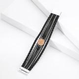 Pulsera de estilo étnico de múltiples capas de cuero tejido Lafite cierre magnético Pulsera