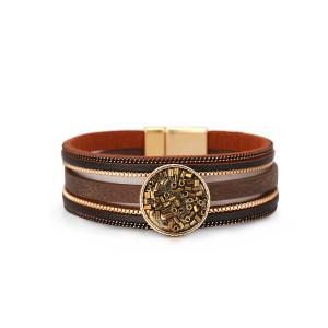 Новый женский браслет многослойный кожаный замок многослойный браслет