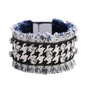 Браслет с бриллиантами из джинсовой ткани с бахромой в виде решетки в виде тысячи птиц, широкий браслет