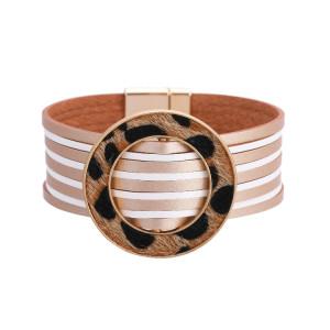 Многоцветная пряжка из конского волоса, многослойный кожаный браслет с магнитной пряжкой