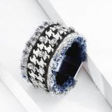 Denim Stoff Diamant Armband tausend Vogel Gitter Fransen breiter Armreif