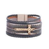 Bohemian style multi-layer chain PV braided cross magnetic clasp Bracelet