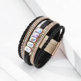Модный браслет для девочек, богемное украшение для рук, многослойный кожаный браслет с кристаллами в праздничном стиле