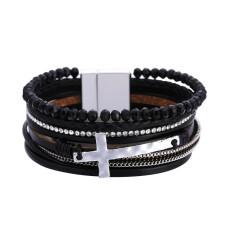 Bohemian Braided Bracelet Frauen Persönlichkeit Retro Perlen Kreuz Armband mehrschichtige Magnetschnalle Lederschmuck