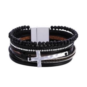Богемный плетеный браслет женский индивидуальный ретро браслет из бисера с крестиком, многослойные кожаные украшения с магнитной пряжкой