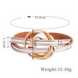 Pulsera de cuero multicapa bohemia moda nueva hebilla magnética a juego pulsera fina