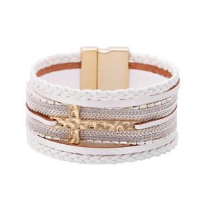 Многослойная цепочка в богемном стиле PV плетеный крест с магнитной застежкой Браслет