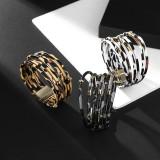 Pulsera de múltiples círculos creativa patrón de leopardo pulsera de cuero con hebilla magnética con cuentas de múltiples capas