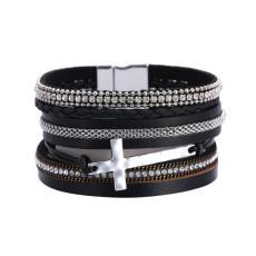 Bohemian National Style Bracelet Damen Diamond Cross mehrlagiges Leder Magnetverschluss Armband