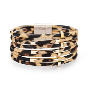 Креативный многослойный браслет с леопардовым узором, многослойный кожаный браслет с магнитной пряжкой из бисера