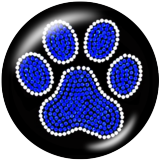 20MM Bear's paw Print glass snaps buttons