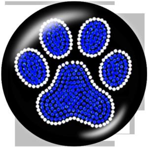 Стеклянные кнопки с принтом лапы медведя 20мм