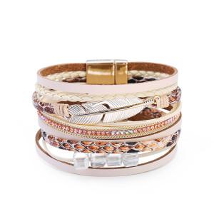 Многослойный плетеный хрустальный камень Кожаный браслет с широкими полями Браслет