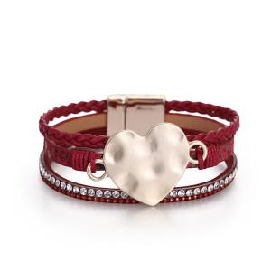 Pulsera de cuero de PU estilo nacional Joyería Bohemia pulsera de piel de serpiente trenzada de tres capas pulsera de amor