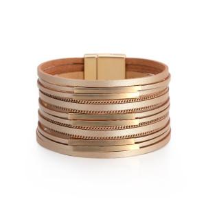Многослойные аксессуары из медных трубок, браслет с широкими краями, женский модный браслет в стиле ретро с тонкой цепочкой