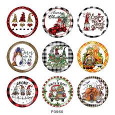 20MM Weihnachtsdruck Glas Druckknöpfe