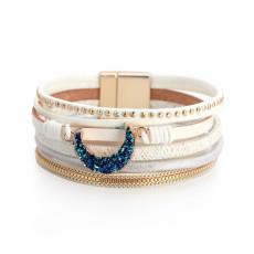 Kreatives und personalisiertes mehrschichtiges Mondarmband aus gewebtem Leder