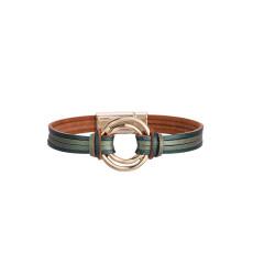 Mehrschichtiges Lederarmband Mode farblich abgestimmte Magnetschnalle Dünnes Armband